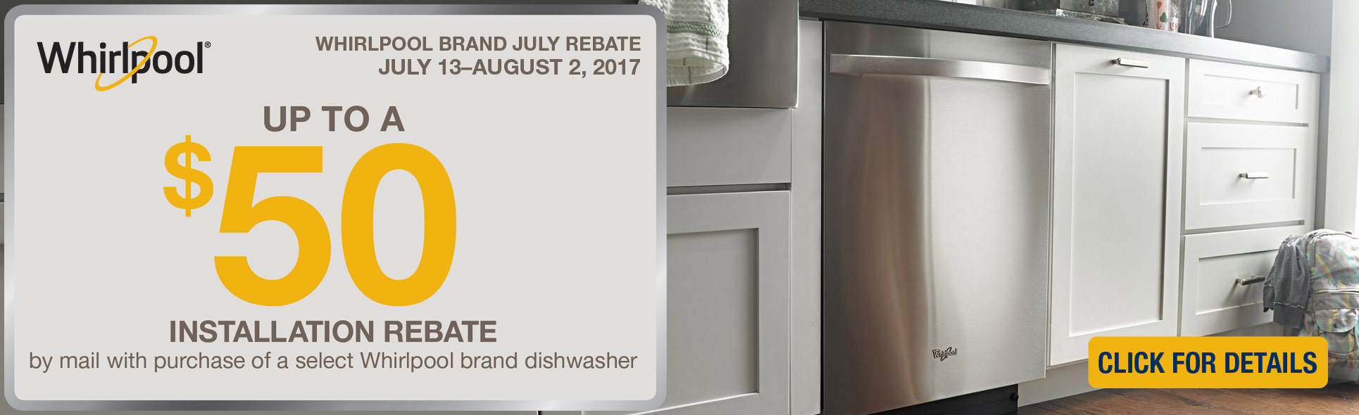 Whirlpool Dishwasher Rebate- Save up to $50